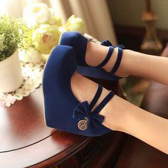 Fashion Round Toe Closed Wedges High Heel Mary Jane Blue PU Pumps(US$17.49)