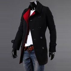 New Men's Stylish Double Breasted Overcoat Trench Coat Winter Slim Jacket in Clothing, Shoes & Accessories, Men's Clothing, Coats & Jackets | eBay