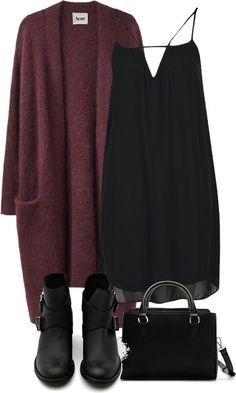 casual black dress /boots, burgundy sweater, boots, purse. i would add knee high socks for winter time.