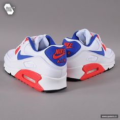 Nike Air Max 90 Essential - White /Hyper Red-Hyper Blue | Air 23 - Air ...