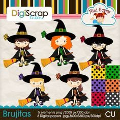 witches, brujitas clipart