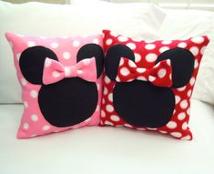 Minnie Mouse Fleece Throw Pillow with Bow by PatternsOfWhimsy