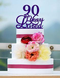 Custom 90 Years Loved Cake Topper 90th Birthday Cake by bridenew