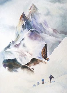 Mountain Climbers Original Watercolor Watercolor By Soulwatercolor