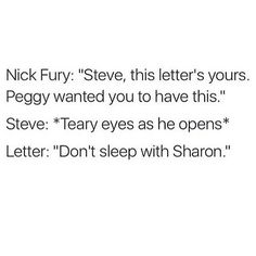 OMG YAASSS!!! finally i hate sharon and steve romanogers forever!!!! -No, Stucky all the way!!