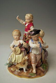 MEISSEN FIGUR GRUPPE MUSIZIERENDE KINDER CHILDREN MAKING MUSIC MNR: B24 UM 1860