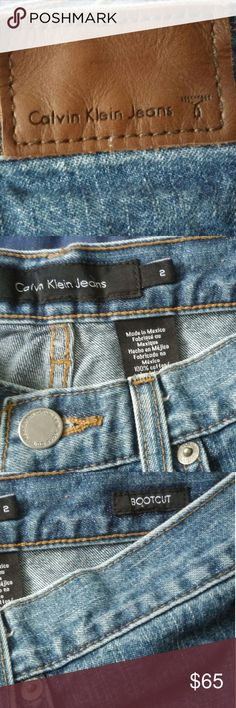 EUC Calvin Klein Jeans Women's Bootcut S2L32 Stright leg sandy wash jeans Not nwt Gently used Length-32 Hips-34 Waist-28 No fraying on ankle cuffs  Calvin Klein detailing on all buttons Size 2 Bootcut jeans Calvin Klein Jeans Jeans Boot Cut