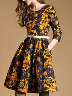 Yellow Round Neck Length Sleeve Drawstring Pockets Print Dress 40.99