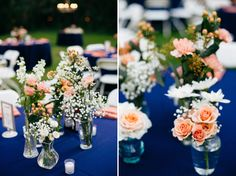 TARA + STEVEN | THE OAKS AT WINDSONG WEDDING | SARASOTA, FL.  coral and blue wedding, backyard wedding, wedding table centerpiece, baby's breath, roses