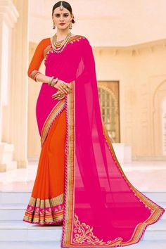 Orange Embellished Function Wear Saree with Lace Border In Georgette And Chiffon