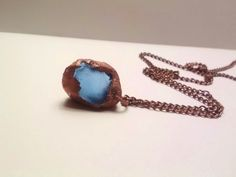 Copper Blue Small Seaglass Pendant Necklace by JennieVargasJewelry,