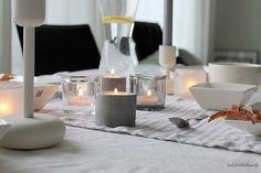 La Dolce Vita Blog / table setting / concrete candle holders Concrete Candle Holders, Table Settings, Candles, Home, Ad Home, Place Settings, Candy, Homes, Candle Sticks