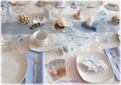 Tischdeko Set 20 Pers hellblau creme Taufe Kommunion  | eBay