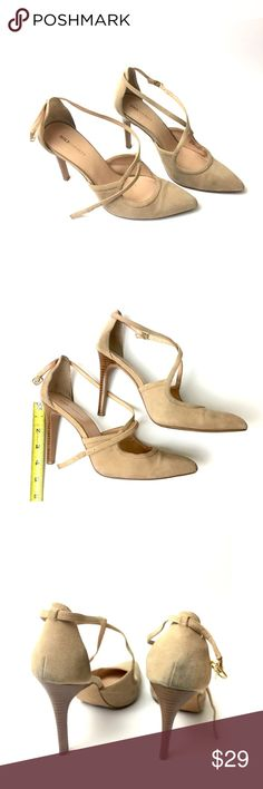"""Sole Society   """"Karenza"""" nude suede stilettos Only worn once!  Beautiful nude suede """"Karenza"""" wooden stiletto heels from Sole Society!!  They retail at $65.  Some cleaning needed at heels, as pictured. Sole Society Shoes Heels"""