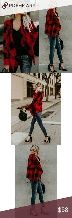 NEW! Chic Red Plaid Cardigan Sweater Jacket Super stylish! Love this!   Red & Black Plaid Acrylic/Cotton Blend Sizes: S/M M/L   ▪ Price Is Firm  ▪ No Trades  ▪ Fast Shipping Moda Ragazza Jackets & Coats