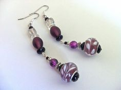 Two Hearts Bead As One - Purple Lantern Asian-Inspired #Earrings, $12 #handmade #jewelry #sale