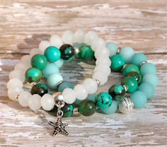 Stack of Summer Beaded Bracelets / Set of 3 by BeadRustic on Etsy, $60.00 White faceted bracelet with silver starfish charm, matte Amazonite with etched silver focal, and rich green turquoise with silver-plated spacers. SET OF 3.