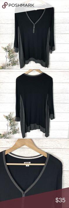 "DKNY Black and Gray Soft Tunic Shirt Top Ultra soft and cozy DKNY gray and black tunic top! In excellent condition. 95% rayon. 5% spandex. Size 3X. 30"" long. (A-24. B) Dkny Tops Tunics"