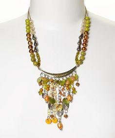 Love this Orange & Lime Bead Dangle Bib Necklace by Treska on #zulily! #zulilyfinds