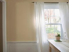 room+colors+wainscoting | simple white curtains give kitchen homey feel