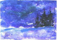 Blizzard in Purple  landscape painting  Jim by jimsmeltzgallery, $30.00