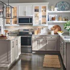 40 Excellent Farmhouse Kitchen Sink Ideas ~ Design And Decoration Thomasville Kitchen Cabinets, Kitchen Cabinets Home Depot, Kitchen Cabinet Design, Interior Design Kitchen, Kitchen Remodel, Kitchen Cabinets With Glass Doors, Two Tone Kitchen Cabinets, White Appliances In Kitchen, Kitchen Cabinets Painted Before And After