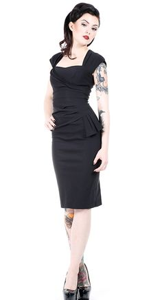 Stop Staring! Uma Fitted Dress in Black | Blame Betty