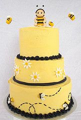 Bumble Bee shower cake (ldeandyment) Tags: black cute yellow buzz ruffles stripes bee bumblebee caketopper babyshower buttercream threetiered customcakesbylori