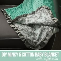 DIY Tutorial DIY Baby Blankets / DIY Sew a Minky and Cotton Blanket - Bead&Cord
