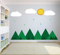 A great addition to any child's bedroom, play room, or nursery and are fully removable and reusable, unlike vinyl wall decals which damage your wall when taken off.  ♥ Simply peel and stick - no fussy application ♥ Fully REMOVABLE and REUSABLE (unlike vinyl wall decals) ♥ Thin fabric wall decal – NOT pvc vinyl ♥ Leaves no residue ♥ Kid friendly, non-toxic, green, phthalates free  WHAT'S INCLUDED  **SMALL SIZE** > Mountains with trees - 50 width x 12 height > 3 Clouds - Each 11 width x 5…