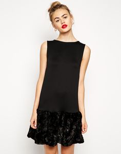 ASOS+Fur+Hem+Shift+Dress