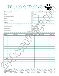 This pet tracker printable allows you to keep track of pet medicine and vaccines in an easy to read format.