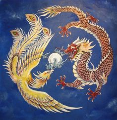 dragon wisdom | An image of a Chinese dragon and phoenix.