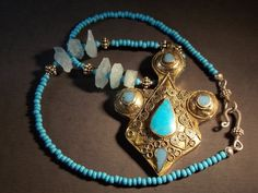 Bold Tribal Pendant Necklace in Turquoise by NecklacesForTheBOLD