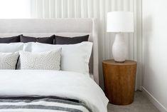 A stylish master retreat by professional interior designer, Natalie Fuglestveit Interior Design Master Bedrooms, Modern Bedroom, Custom Bedding, Ensuite Bathrooms, How To Make Pillows, Drapery, Crate, Barrel, Armchair