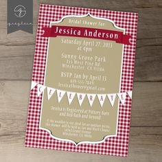 picnic wedding shower invitations
