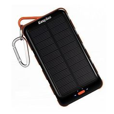 EasyAcc High Capacity 15000mAh Power Bank With Solar Panel and Flashlight For iPhone Samsung Smartphones Tablets Bluetooth Speaker - Black and Orange, Carabiner Included