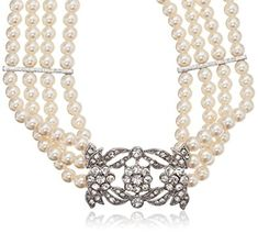 Kenneth Jay Lane Bride Four Row Statement Simulated Crystal Pearl Strand Necklace Review