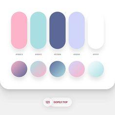 Beautiful colour palettes for your next UI design project! Flat Color Palette, Pantone Colour Palettes, Pastel Colour Palette, Colour Pallette, Colour Schemes, Pantone Color, Color Patterns, Gradient Color, Site Portfolio