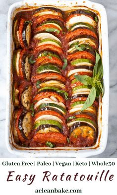 This Ratatouille recipe comes together quickly for a fresh weeknight dinner. It's a light & fresh dish that's gluten free, vegan, and paleo. Plus, its freezer-friendly go ahead and make a double batch! Add it as meal planning and make ahead menu options for easy dinner recipe. (Vegan, Vegetarian, Gluten Free, Paleo, and Whole30 Compliant) #lowcarbsideedish #healthydinnerrecipe Vegetarian Recipes Hearty, Paleo Recipes, Soup Recipes, Cooking Recipes, Vegan Vegetarian, Vegetarian Sandwiches, Kid Recipes, Going Vegetarian, Vegetarian Breakfast