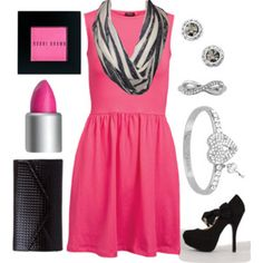 A fashion look from July 2014 featuring pink dress, black stilettos and mini purse. Browse and shop related looks. Infinity Scarf Outfits, Black White Stripes, Black And White, Style Inspiration, Polyvore, Collection, Shopping, Design, Women