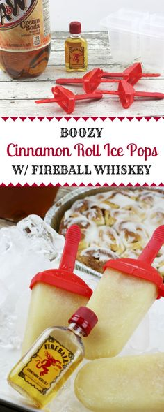 Inspired by the Cinnamon Roll Cocktail, these delicious cinnamon roll ice pops are made with just 2 ingredients: cream soda and Fireball whiskey.