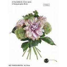Bouquet flores artificiales dalias y proteas