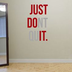 """JUST DONT QUIT"" Gym Workout Motivation Quote Words Vinyl Wall Art Sticker Wallpaper Mural Home Decoration JUST DO IT-in Wall Stickers from Home, Kitchen & Garden on Aliexpress.com 