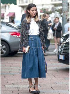 Milan Fashion Week Street Style Spring 2013 - denim maxi