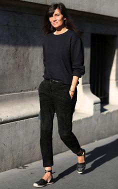 French Vogue editor Emanuelle Alt wearing Valentino espadrilles