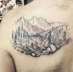 50 Natural Landscape Tattoos for Men and Women - tattooeng. Tattoo Designs, Landscape Tattoo, Tattoo Motive, Scenic Design, Mountain Landscape, Art Forms, Tattoos For Guys, Nature, Landscapes