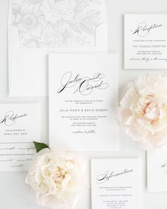 Wedding Invitation Package Set with Large Script Names and Silver Floral Envelope Liner
