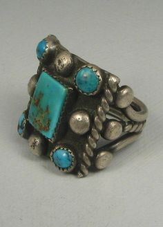 Early Squared Navajo Turquoise Silver Raindrop Cluster Ring | eBay