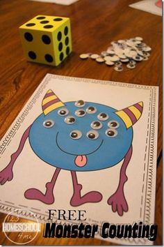 monster counting activity for toddler, preschool, prek, kindergarten